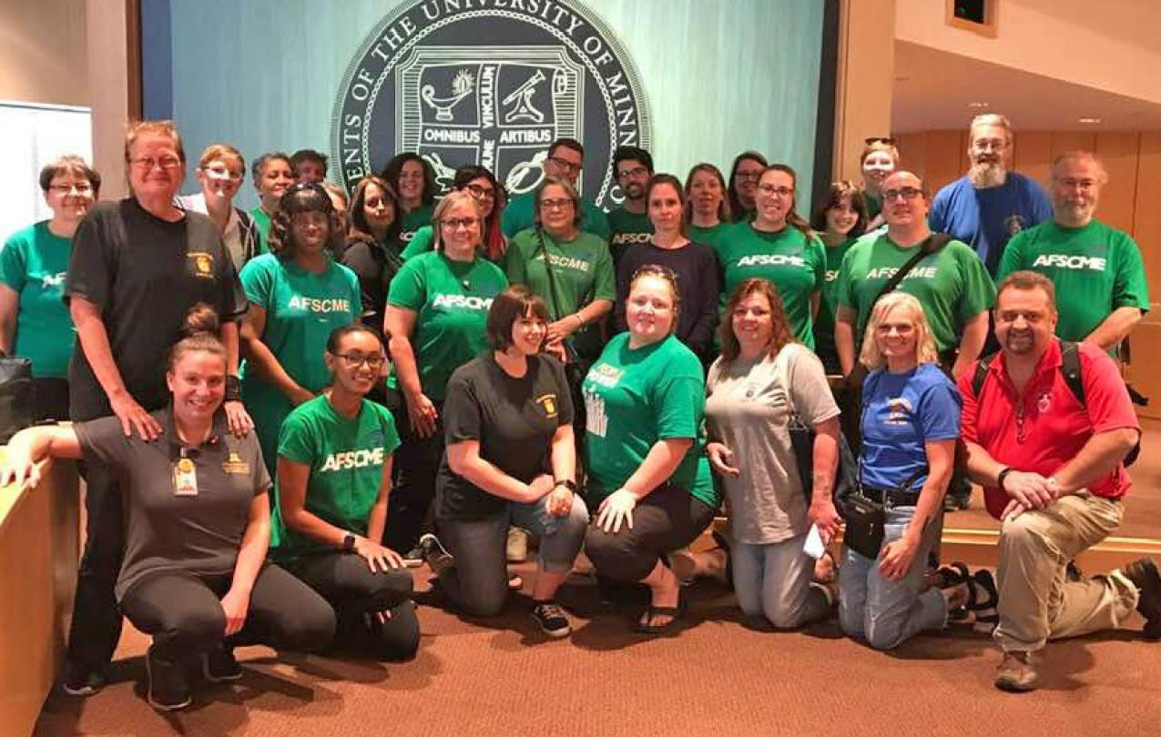AFSCME Local 3800 and members of our sister University of Minnesota unions gather at a public Board of Regents budget hearing